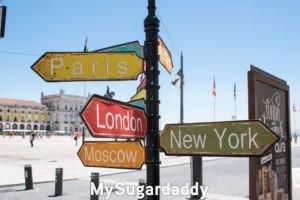 En la imagen se ve un poste con carteles apuntando a las direcciones de las diferentes ciudades del mundo. Paris, Londres, entre otras. Carteles con diferentes colores. Al fondo se ve una plaza, con personas caminando sobre ella. El cielo azul sin ninguna nube.